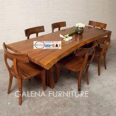 set meja makan kayu trembesi Murah berkualitas