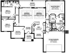 Colonial Contemporary Florida Mediterranean House Plan 50875 Level One Florida Style, Florida Home, Florida House Plans, Plans Architecture, Mediterranean House Plans, Mediterranean Decor, Large Laundry Rooms, Contemporary House Plans, Dream House Plans