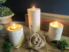 Candle Holders Birch Wood Candle Holders by DivineRusticCreation, totally can make these
