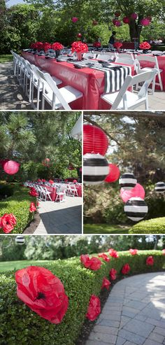 love the the paper flowers in the hedge! such a cute idea! Pretty Poppy Birthday Party for Paislee
