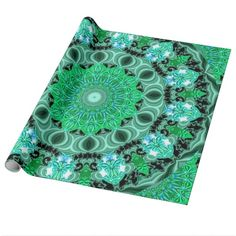 Emerald Crystals Mandala, Abstract Mint Green Gift Wrap Paper  #DianeClancy
