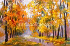 oil painting landscape - autumn forest, full of fallen leaves, colorful picture , abstract drawing Stock Photo , Oil Painting Trees, Forest Painting, Painting Prints, Autumn Leaves, Fallen Leaves, Forest Scenery, Tree Images, Van Gogh Paintings, Autumn Forest