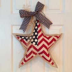 Patriotic Star Burlap Door Hanger American Flag by SnappyPea