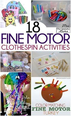 18 Fine Motor Clothespin Activities, perfect for preschool! Fine Motor Activities For Kids, Motor Skills Activities, Gross Motor Skills, Sensory Activities, Preschool Activities, Sensory Rooms, Therapy Activities, Physical Activities, Movement Activities
