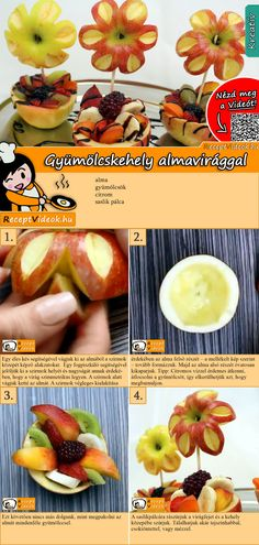 The Fruit cup with apple flowers is an amazing and creative dish you can easily make at home! You can easily find the recipe by scanning the QR code in the top right corner! Make Your Own Cookbook, Easter Cake Pops, Apple Flowers, Fruit Gums, Flower Food, Party Buffet, Recipe Cards, Diy Food, Food Dishes