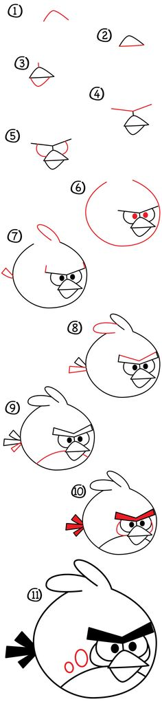 Learn how to draw Red from Angry Birds! These steps are meant just for kids. He's easy and fun to draw, follow along with us.