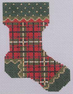 Kelly Clark Needlepoint McCauley Mini Sock Hand Painted Needlepoint Canvas Needlepoint Patterns, Needlepoint Canvases, Christmas Minis, Christmas Cross, Mini Stockings, Christmas Stockings, Hand Painted Canvas, Needlework, Tartan