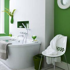 green and white bathroom- always feels peaceful yet energizing too!