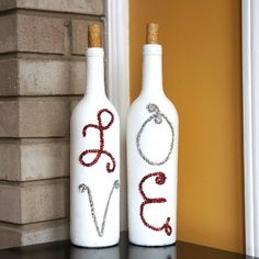 DIY painted wine bottles for Valentine's day by using pipe cleaners for the letters.