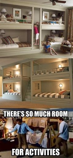 I think bunk beds are the best! Where do a bunch of kids congregate? One room. I don't care if you have a 7 bedroom house, the kids always end up in one room together My New Room, Kids Bedroom, Bedroom Ideas, Kids Rooms, Movie Bedroom, Movie Theater Rooms, Childrens Bedroom, Small Rooms, My Dream Home
