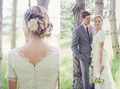 Love her hair, love his suit (with their wedding date embroidered inside-so sweet!), love her dress, I love everything!