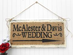 Wedding Decor Directional Arrow sign, custom personalized guest greeting signage, burlap, rustic