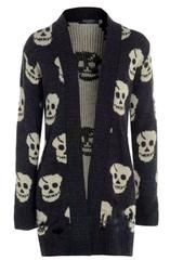 Skull Print Open Knitted Cardigan