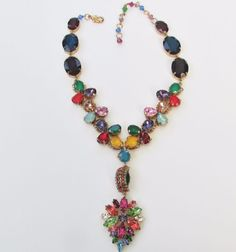 Erickson Beamson Multi color Vintage glass stones Statement necklace SIGNED #EricksonBeamson #Statement