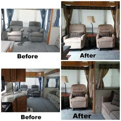 More pictures of my 2003 5th remodel.  My new wall hugger recliners to match my new sofa bed for the camper! I won't need to move them in and out any more when we arrive or leave since they clear the window to recline and the slide out when the slide is in!! Yes, I am a HAPPY CAMPER!