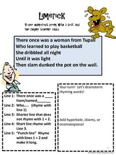 Unit 2 Week 5 Limerick Poetry Instructions Samples and template