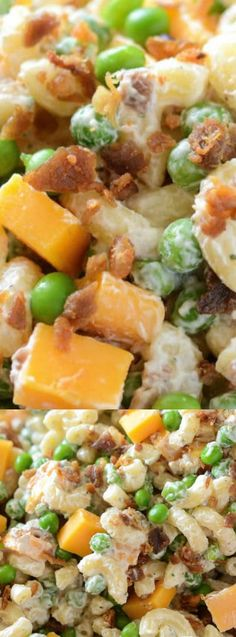 This Bacon Ranch Pasta Salad from The Novice Chef is a quick and easy creamy pasta salad! Bacon, peas, cheddar cheese, and ranch seasoning are all tossed together for a great potluck dish!