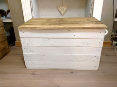 Handmade Rustic Trunk Storage Chest / Trunk / Hope Box with rope handles. Whitewashed with waxed lid, rustic chest, rustic trunk