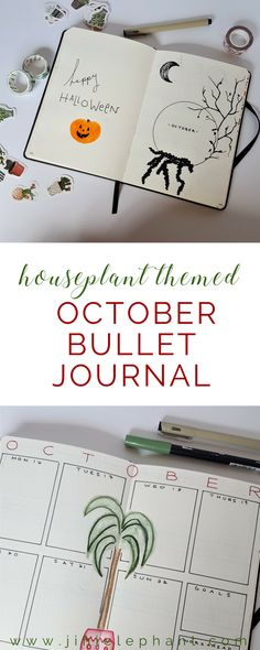 Houseplant Themed October Bullet Journal For October I chose to take a completely new approach. Until recently I haven't really used tools like stickers or washi tape, I also haven't utilized welcome or title pages. HOWEVER, for October I created a title page that I absolutely love. I also decided to use houseplant stickers, cactus and succulent washi tape, and houseplant illustrations to add personality and color to my weekly layouts. I also decided to add a ton of list pages, check it out!