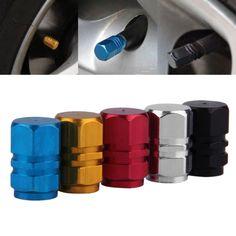 2016 4 unids/pack Antirrobo De Aluminio Coche Neumático de Válvulas del Neumático de la Rueda Del Vástago Caps de Aire Hermético Cubierta 5 colores venta caliente