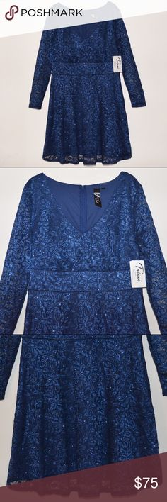 "Trixxi Women's Navy Glitter Lace Long Sleeve Dress This is a Trixxi Women's Navy Glitter Lace Long Sleeve Dress. Size: 16W. Color: Navy. MSRP $109. * Stretch * Lace all-over * Long sleeve * Banded natural waistline  * Pleated top front waist * Self: 65% Nylon 33% Polyester 2% Spandex. Lining: 100% Polyester  * Hand wash * Imported  * Approx measurements: Chest: 21"". Waist: 19"". Pit to Hem: 29"". Length:  37"". Trixxi Dresses Long Sleeve"