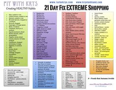 21 Day Fix Extreme Shopping/Grocery List  www.facebook.com/krystalbland1224