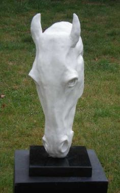 Marble resin or iron resin Horse Sculpture / Equines Race Horses Pack HorseCart Horses Plough Horsess sculpture by artist Christine Close titled: 'Headstand (marble resin White Horse Head Bust sculptures statues)'