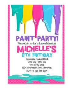 Printable Art Party Invitation Paint Drips Party Birthday Invite