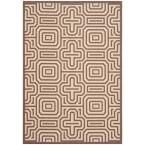 Courtyard Chocolate/Natural (Brown/Natural) 6 ft. 7 in. x 9 ft. 6 in. Indoor/Outdoor Area Rug