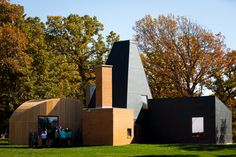 Guests check out the Winton Guest House Sunday at the Gainey Center. #Frank_Gehry #University_of_St_Thomas