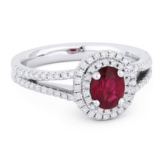 1.09ct Oval Cut Ruby & Round Diamond Pave Double-Halo Engagement Ring in 18k White Gold - AlfredAndVincent.com