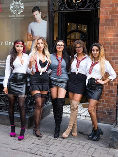 Zahida Allen Photos Photos - (L-R) Chelsea Barber, Eve Shannon, Sarah Goodhart, Abbie Holborn and Zahida Allen pose at a photocall as the cast of Geordie Shore get ready to teach us how to be 'Radge' in the world's first Radge Academy open day in Soho on March 16, 2017 in London, United Kingdom. - The Cast of 'Geordie Shore' Open the World's First Radge Academy in Soho