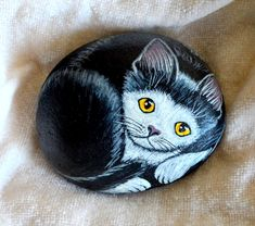 Tuxedo Cat Rock, Hand Painted Stone Art, Cat Painting,Animal Gift, Cat Lover,Painted Stone Cat, 3D Art, Pet Rock, Kitten Painting, Pet Lover by JeannesJungle on Etsy