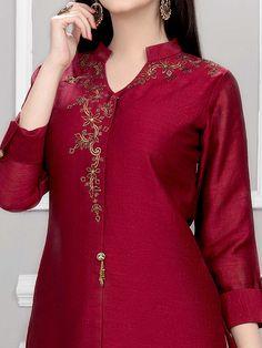 Salwar Kameez Shopping: Readymade Salwar Suits Collection, Buy Salwar Suits Online in India Plain Kurti Designs, Silk Kurti Designs, Simple Kurta Designs, Churidar Designs, Kurti Designs Party Wear, Kurti Back Designs, Neckline Designs, Blouse Neck Designs, Designer Kurtis