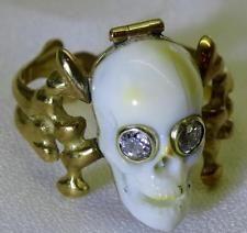 antique 18th C Georgian 18k gold&Diamonds Poison Memento Mori Skull ring