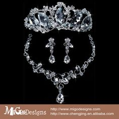 Migodesigns Luxury Jewelry 18K White Gold Plated Bridal Jewelry Sets Necklace Earrings With Tiaras Crown