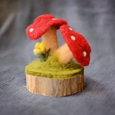 Needle Felted Toadstool Mushrooms on Cedar Base - Waldorf Nature Table Decor