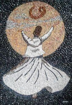 Münteha Tuga - Sanatçı Profili ve Eserleri | Gallerymak Wall Painting Decor, Sand Painting, Creative Activities For Kids, Pebble Pictures, Mosaic Artwork, Turkish Art, Arabic Art, Islamic Art Calligraphy, Pebble Art