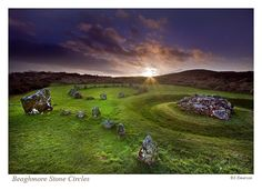The Beaghmore Stone Circles on the south slopes of the Sperrin Mountains, in an area known as the Creggan, were discovered by accident during peat cutting in the 1940's. It took four years of excavation to remove a thick layer of protective peat and to uncover no less than 1269 stones.    The Stone Circles were built in the Bronze Age around 1600 BCE. Field walls, fireplaces and flint tools found at the site are suggesting that the site was in use since 2900 BCE.