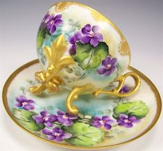 Violets: Exceptional Antique Unmarked French Limoges Hand-Painted #Violets Teacup and Saucer.