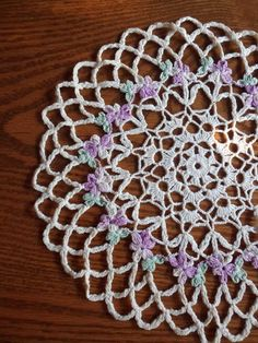 Crocheted Violet Doily Round Crocheted Lace by MountainThyme1, $8.95