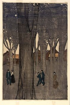 Figures among Trees, 1906 B. J. O. Nordfeldt Born: Tullstorp, Sweden 1878  Died: Henderson, Texas 1955  color woodcut on paper image: 12 3/4 x 8 1/2 in. (32.5 x 21.5 cm) Smithsonian American Art Museum Museum purchase, 1977.59.2