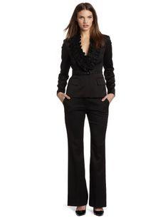 Anne Klein Women's Melange Ruffle Pant Suit
