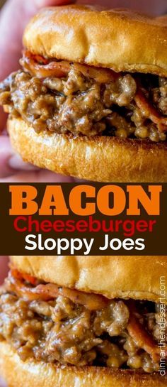 loved these Bacon Cheeseburger Sloppy Joes so much we made them again the next day! (Hamburger Sandwich Recipes)We loved these Bacon Cheeseburger Sloppy Joes so much we made them again the next day! Bacon Recipes, Crockpot Recipes, Cooking Recipes, Sandwich Recipes, Oven Recipes, Bacon Hamburger Recipes, Fondue Recipes, Hamburger Buns, Quick Recipes