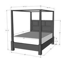 DIY Projects Dawsen Canopy or Poster Bed - Queen Woodworking Plans by Ana White Queen Canopy Bed Frame, Canopy Bedroom, Diy Bed Frame, Diy Canopy, Canopy Beds, Queen Bed Frames, Master Bedroom, Hotel Canopy, Woodworking Plans