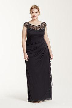 Cap Sleeve Beaded Illusion Neckline Dress XS4843W