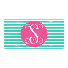 Mint Stripe Car Tag | underthecarolinamoon.com