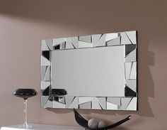 Contemporary Rectangular Wall Mirror With Triangular Mirrored Frame Part 70