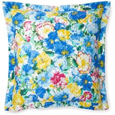 Ralph Lauren Ashlyn Floral Quilted Euro Sham ($116) ❤ liked on Polyvore featuring home, bed & bath, bedding, bed accessories, blue multi, quilted euro pillow shams, quilted bedding, flowered bedding, floral bedding and ralph lauren bed linens