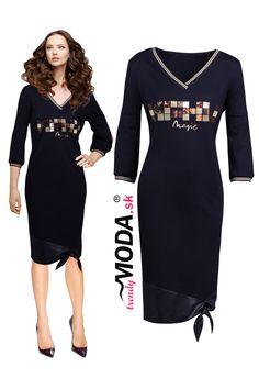 Nápadité čierne úpletové dámske šaty s efektnou mašľou pri spodnom okraji a geometrickou ozdobou na prednom diele. Peplum Dress, Dresses For Work, Fashion, Moda, Fashion Styles, Fashion Illustrations, Peplum Dresses